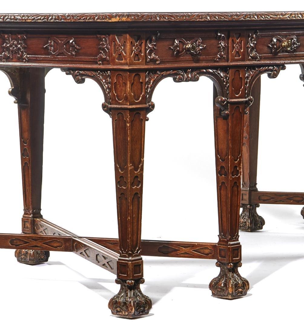 English mahogany Jacobean style 8 leg desk - 2