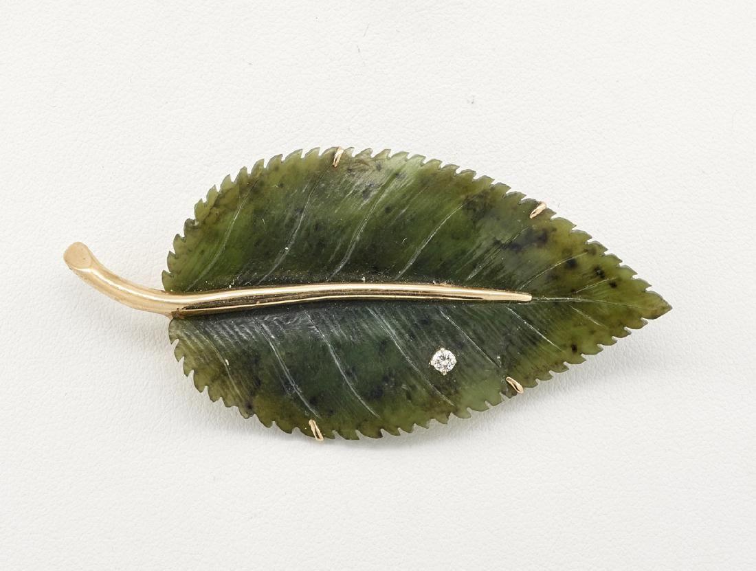 14k Yellow gold, diamond & carved jade leaf brooch