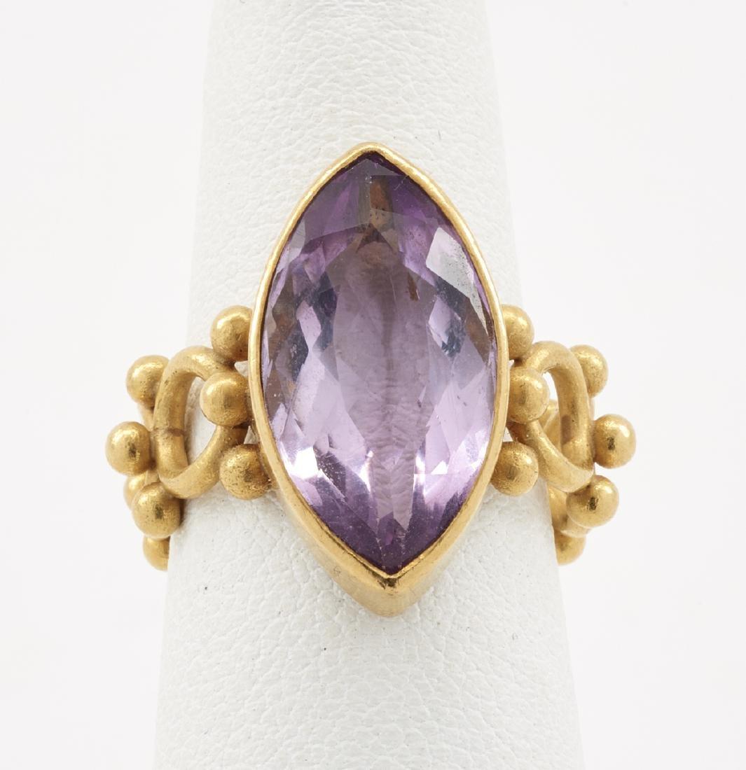 22k Gold & amethyst ring