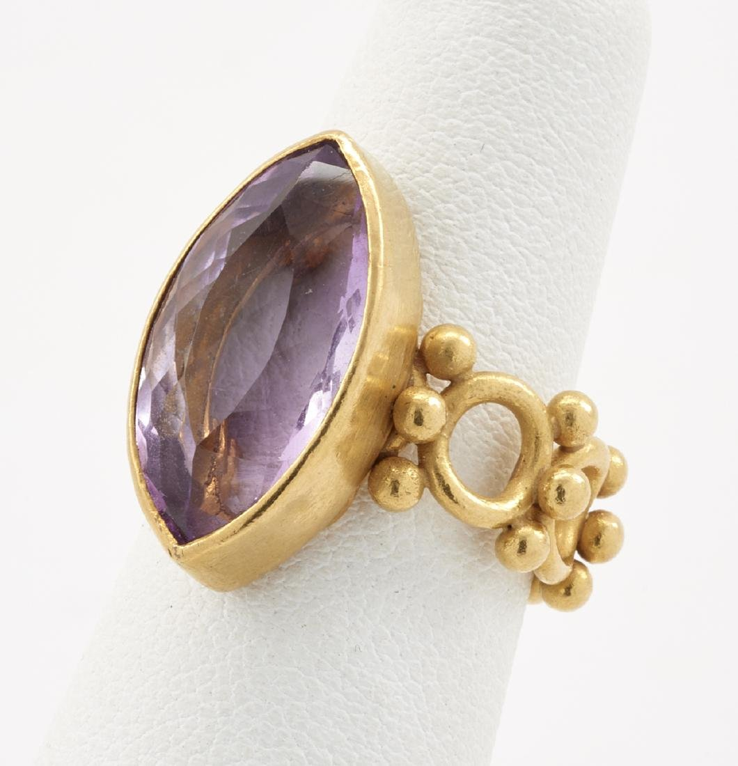 22k Gold & amethyst ring - 2