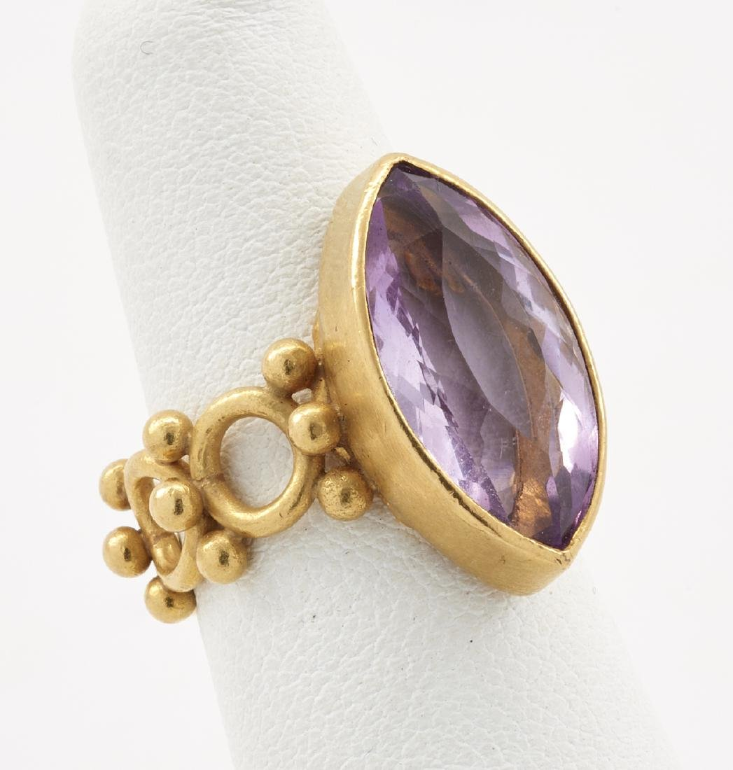 22k Gold & amethyst ring - 3