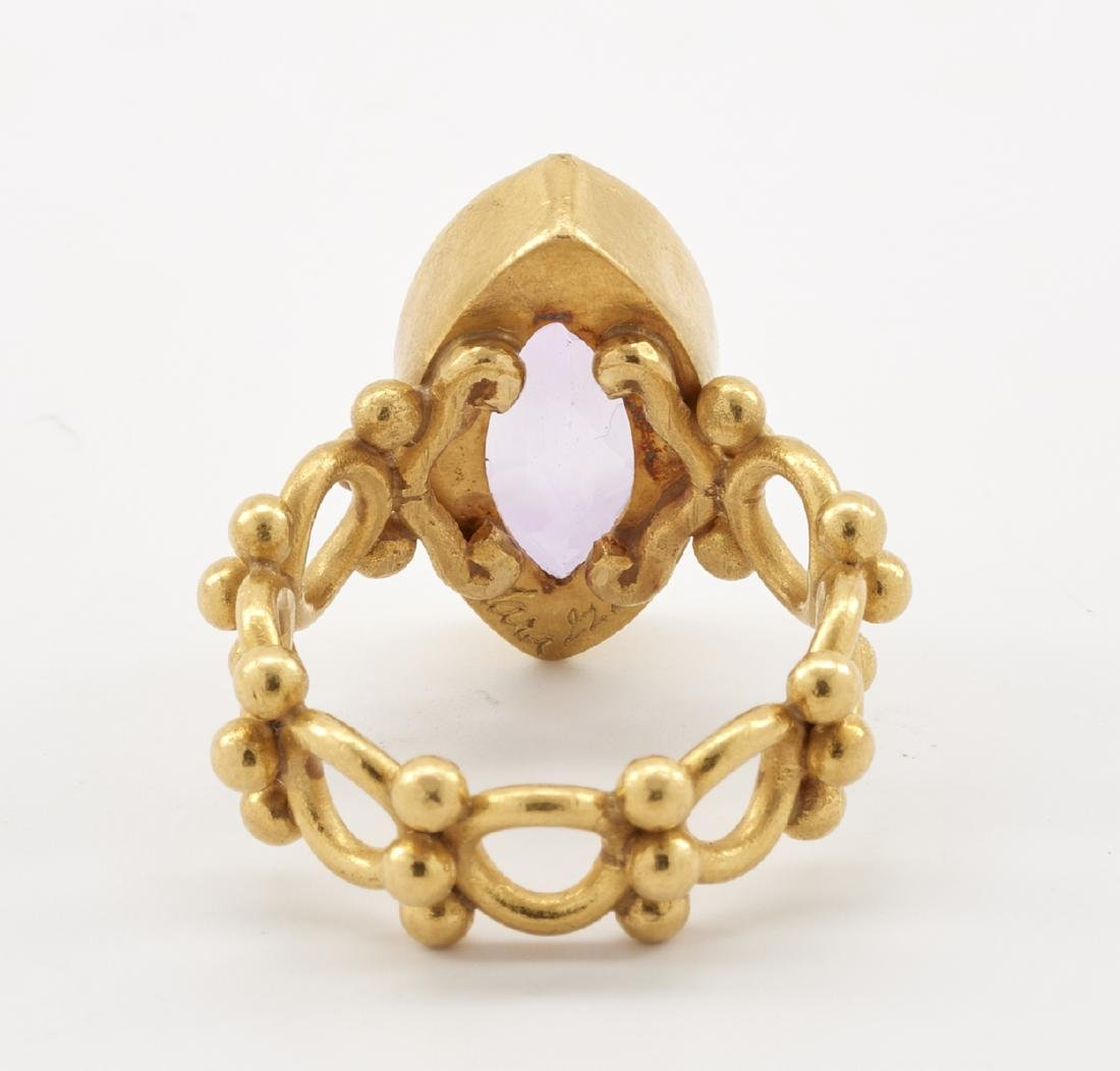 22k Gold & amethyst ring - 4