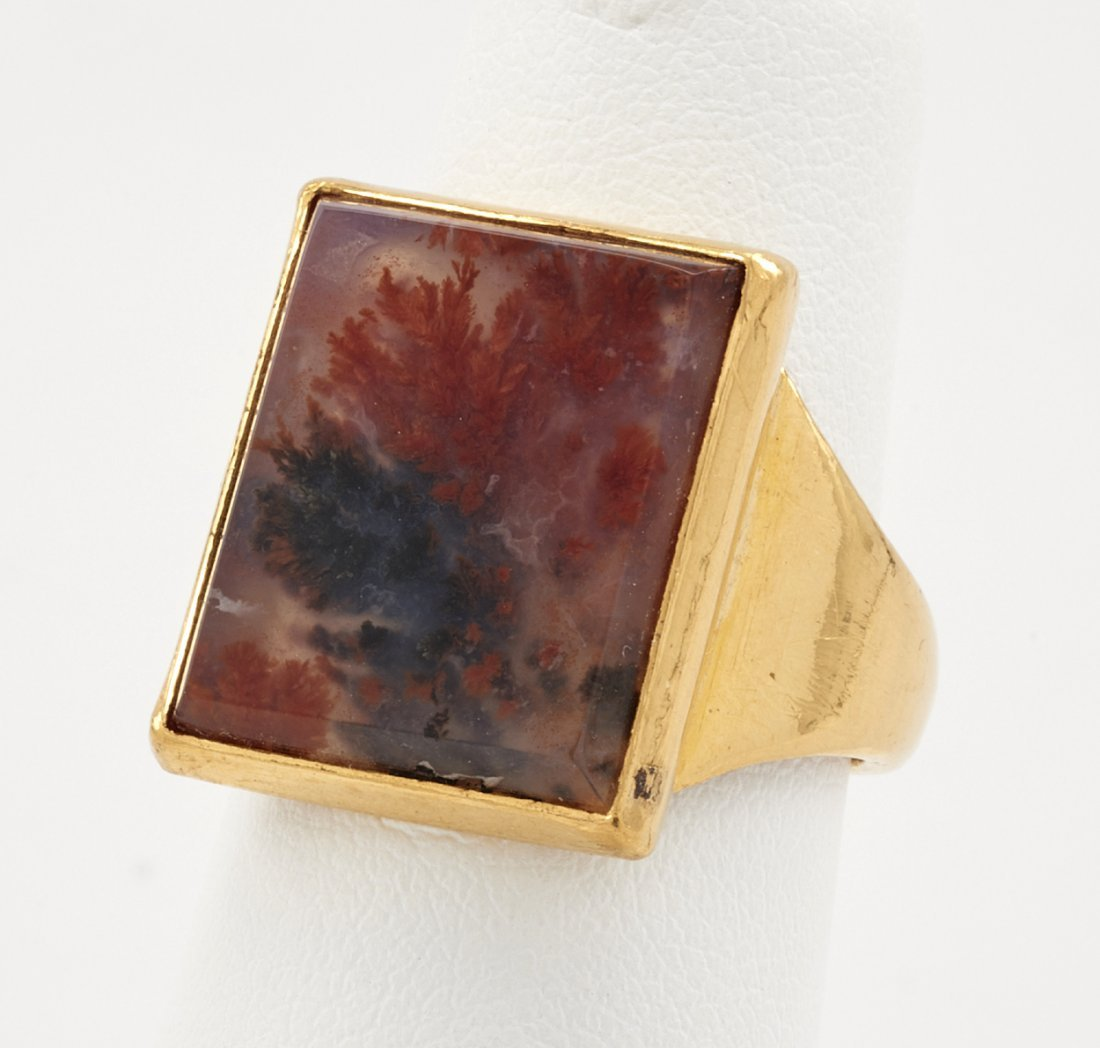 24k Gold & agate ring
