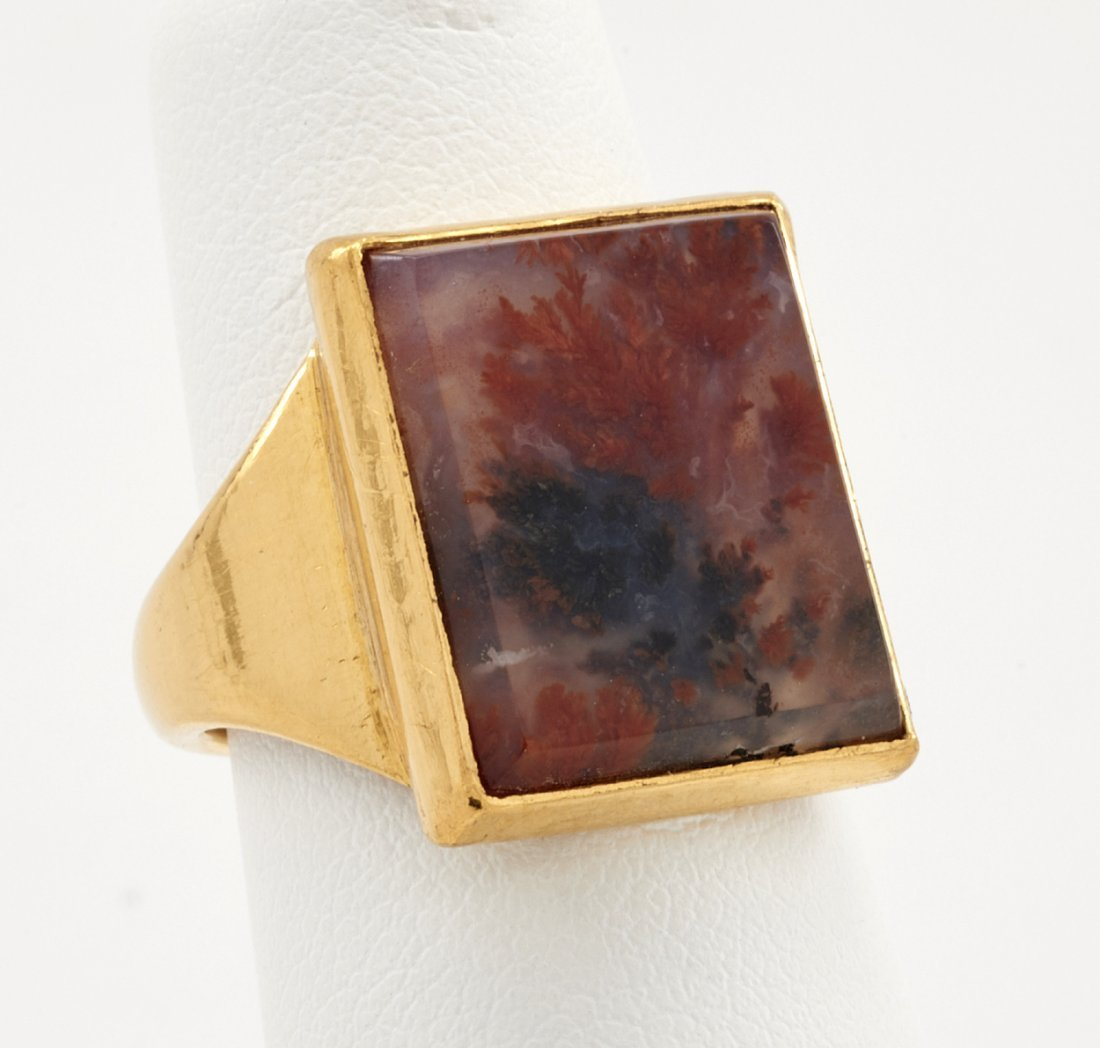 24k Gold & agate ring - 2