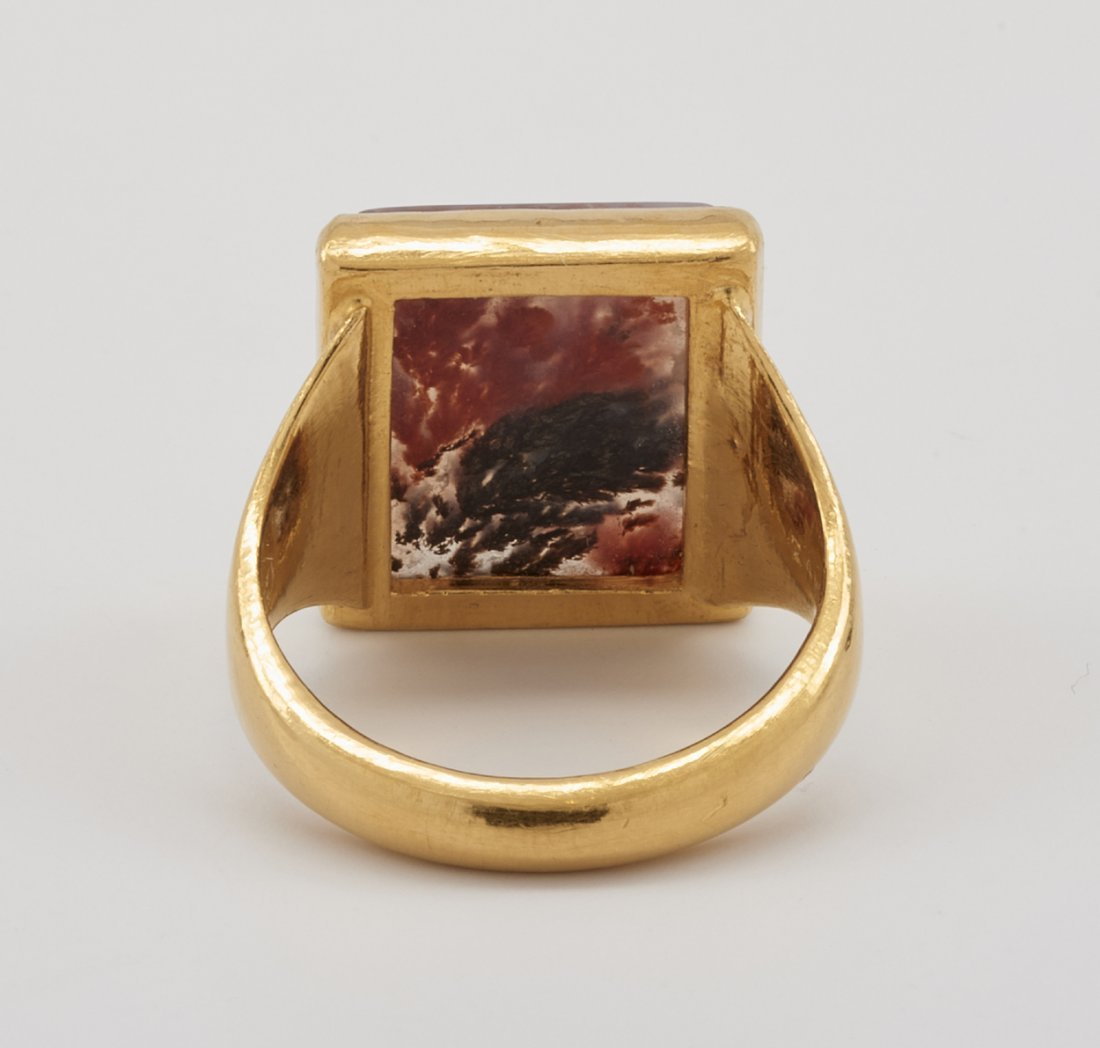 24k Gold & agate ring - 4