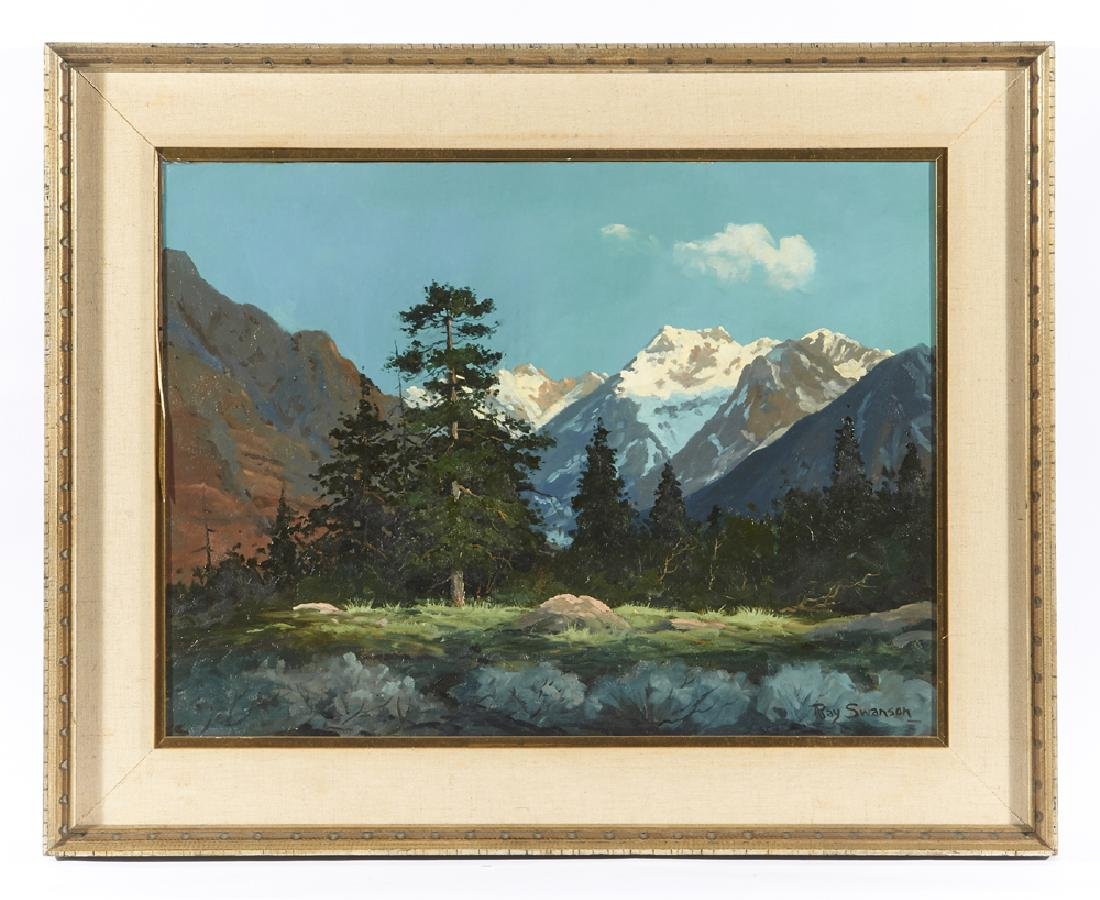 Ray Swanson, mountain lake landscape, o/c