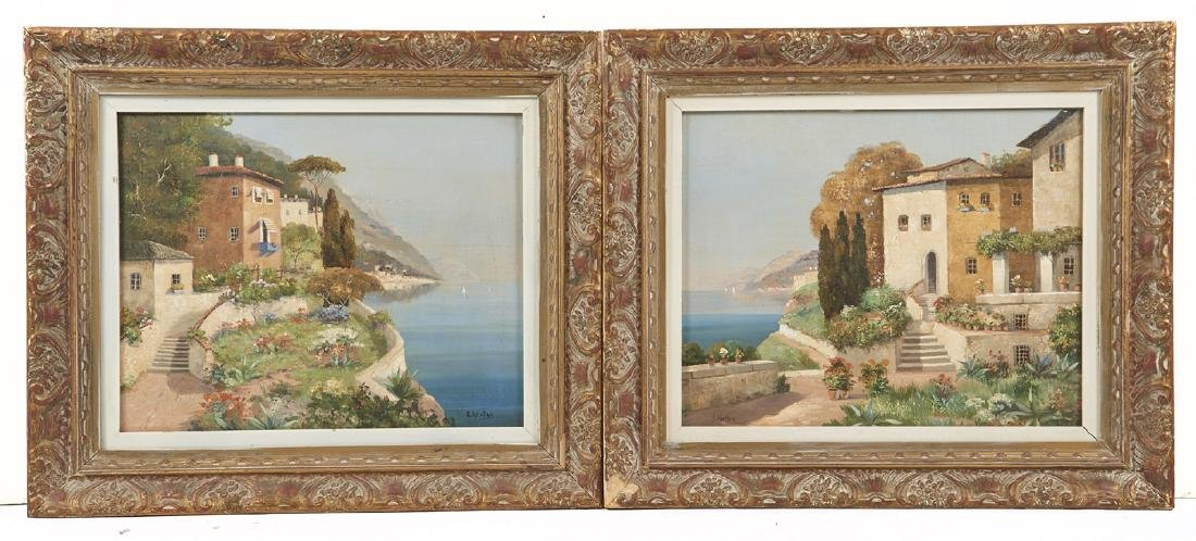 R. Krotter, Italian seascapes (pair), oil on board