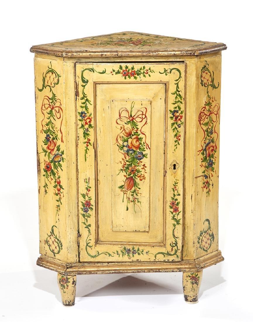 Neoclassical paint decorated corner cupboard