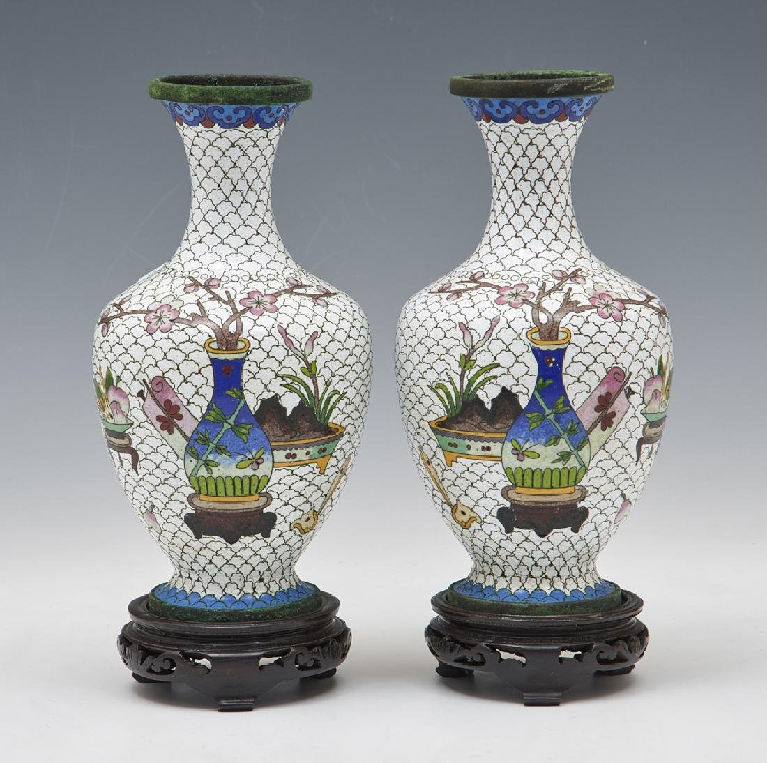 Pair of Japanese white cloisonne vases w floral decor