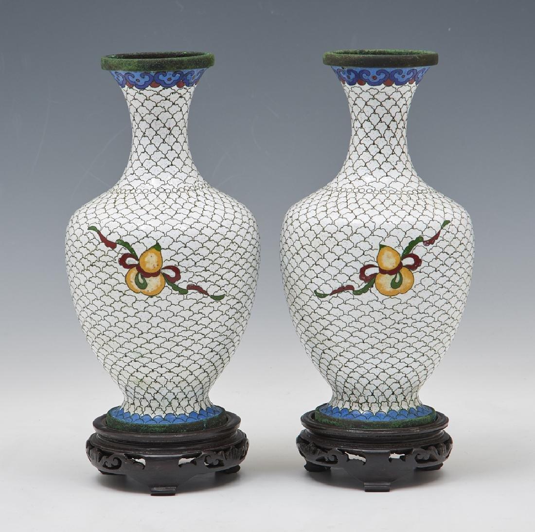 Pair of Japanese white cloisonne vases w floral decor - 2