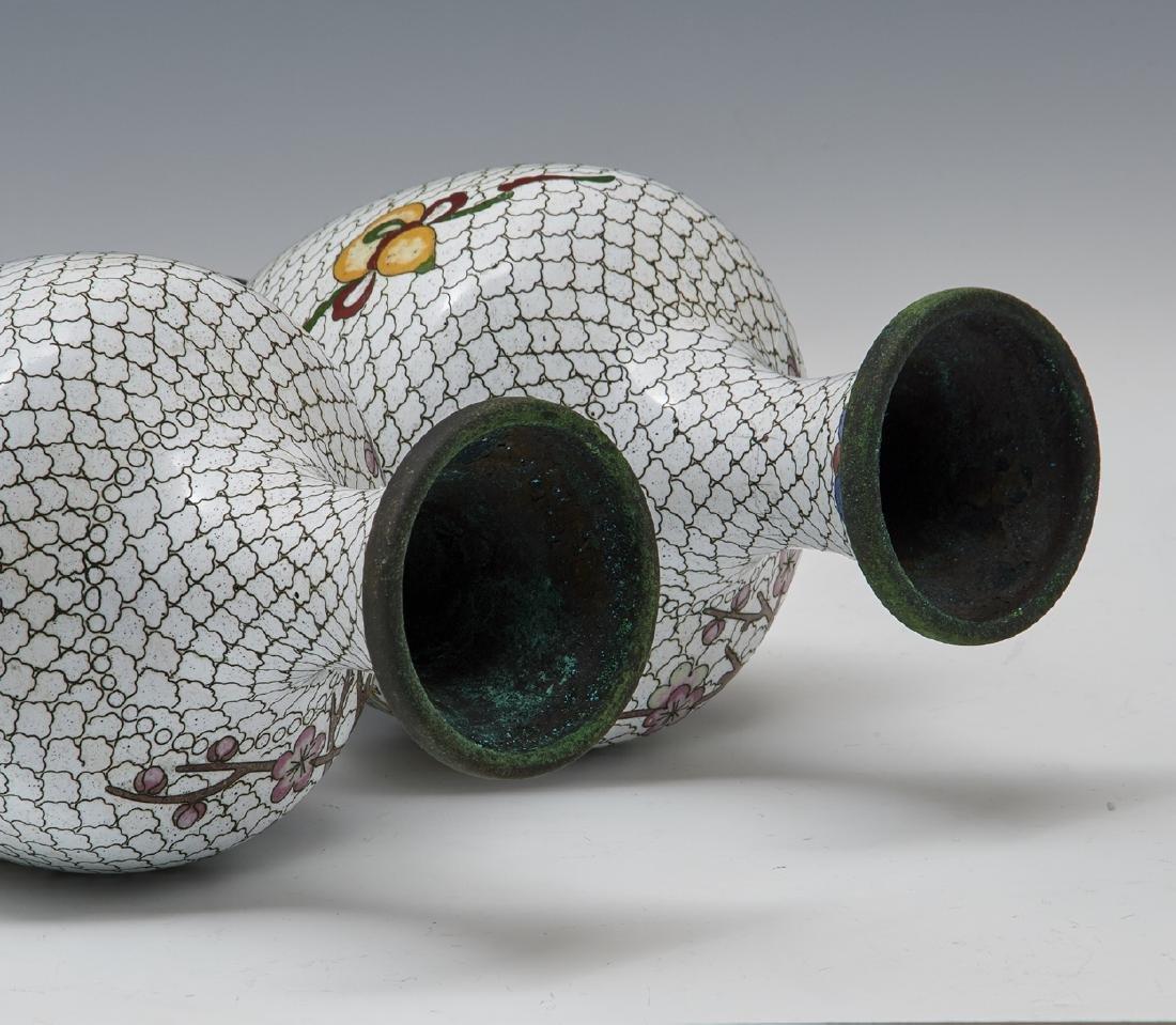 Pair of Japanese white cloisonne vases w floral decor - 3