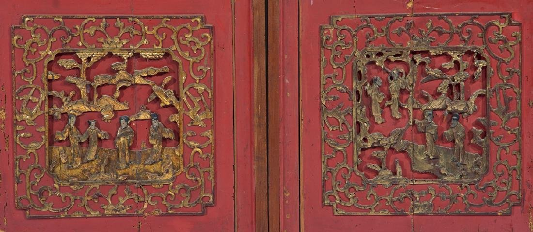 Pair of early Chinese carved panels - 2