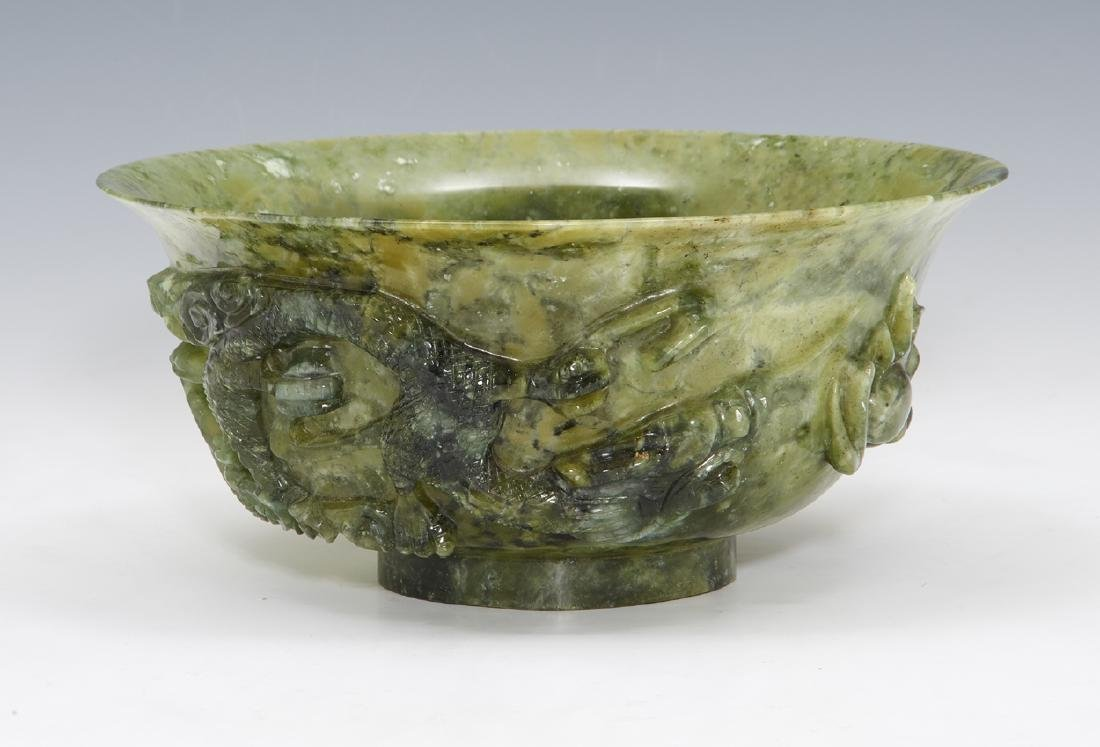 Chinese carved hardstone bowl with dragons - 2