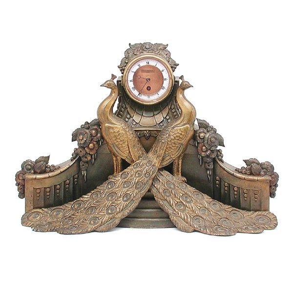 6: Art Deco Mantle Clock, Peacocks