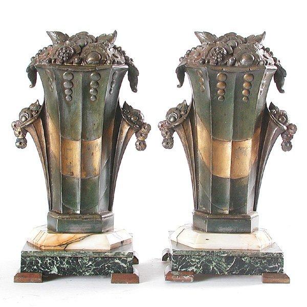 7: Pair of Art Deco Garniture On Marble