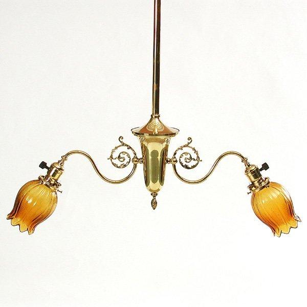 14: Victorian 2 Light Brass Chandelier