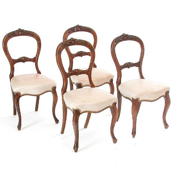 23: Four Victorian Walnut Sidechairs
