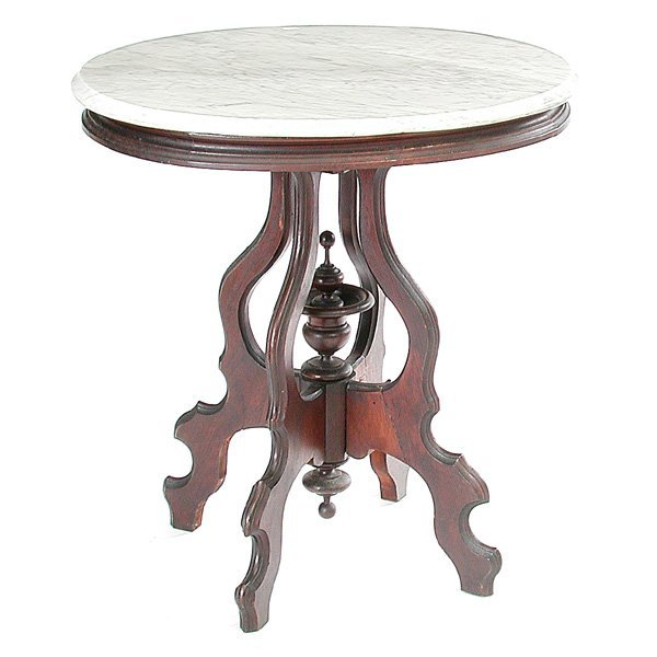 24: Victorian Marble Top Parlour Table