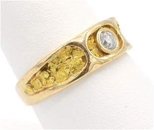4k Yellow gold, natural nugget and diamond ring