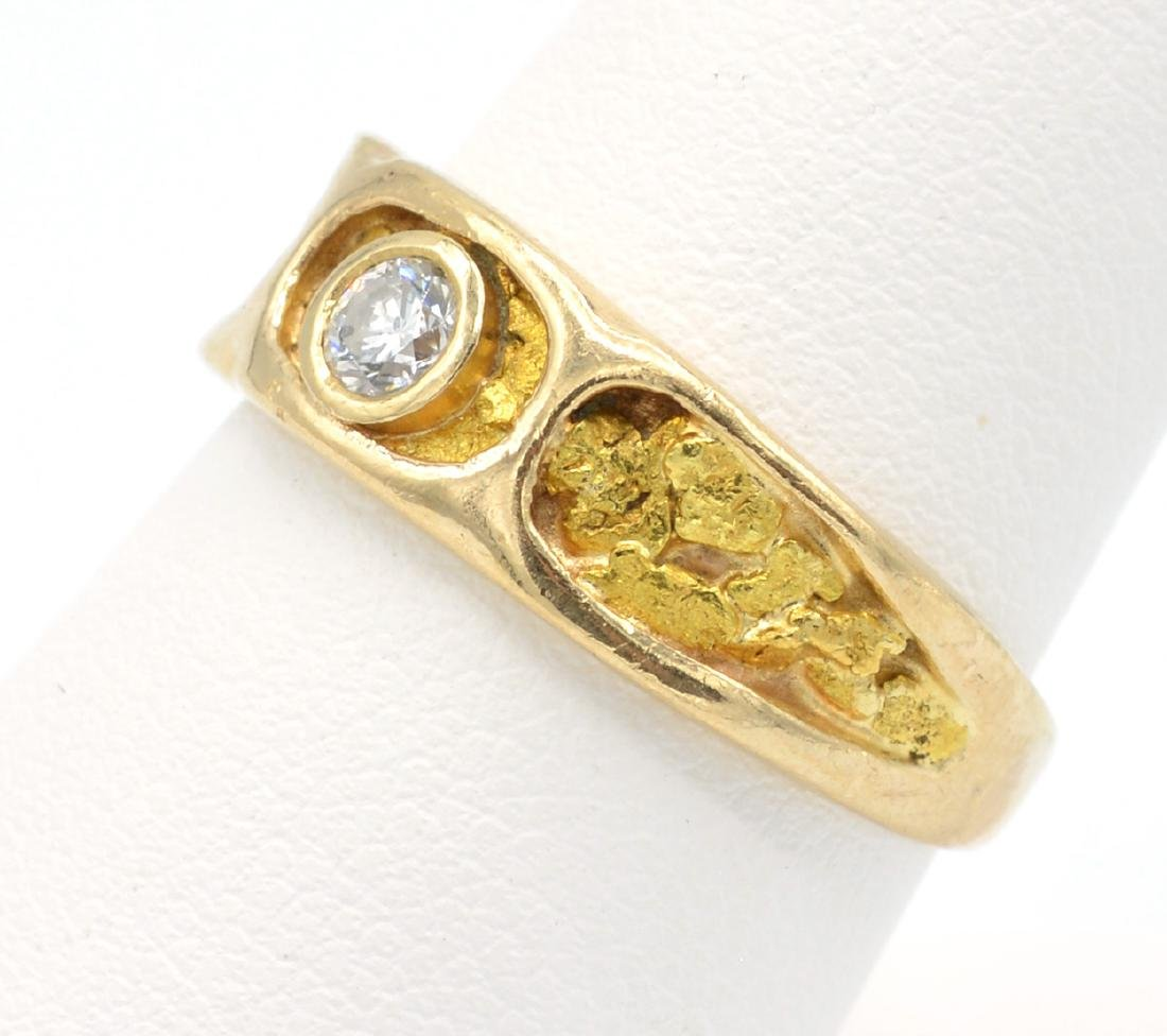 14k Yellow gold, natural nugget and diamond ring - 2
