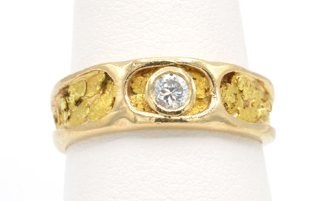 14k Yellow gold, natural nugget and diamond ring - 3