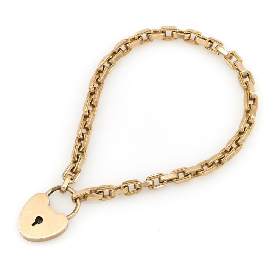 9k Rose gold Victorian heart lock bracelet with curb