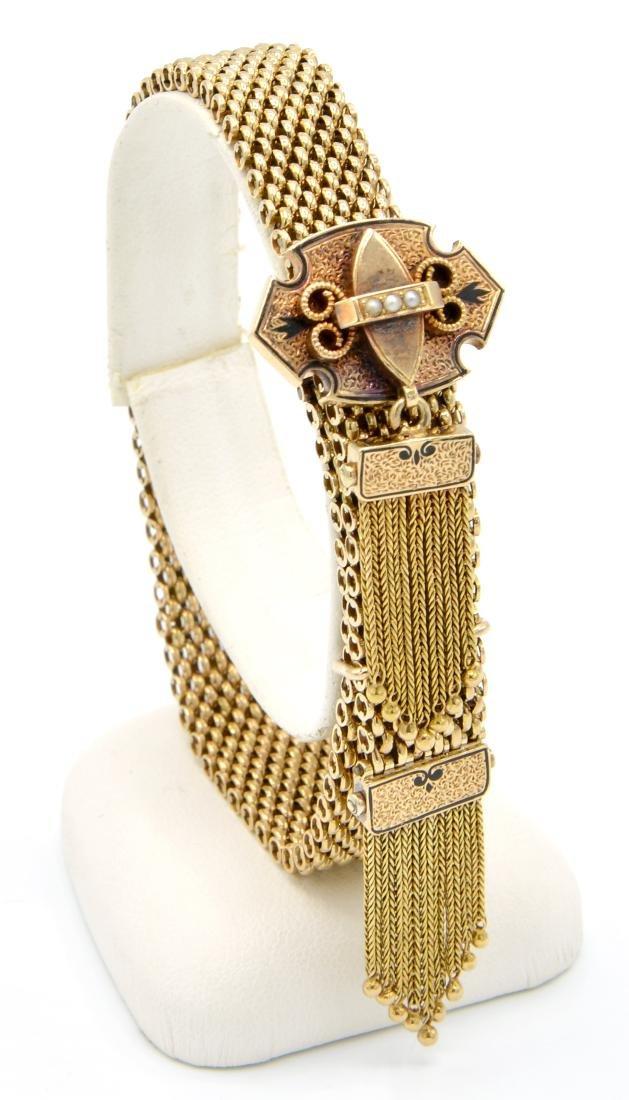 14k Yellow gold Victorian slide bracelet with tassels,