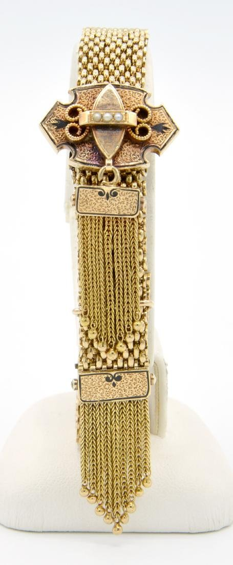 14k Yellow gold Victorian slide bracelet with tassels, - 2
