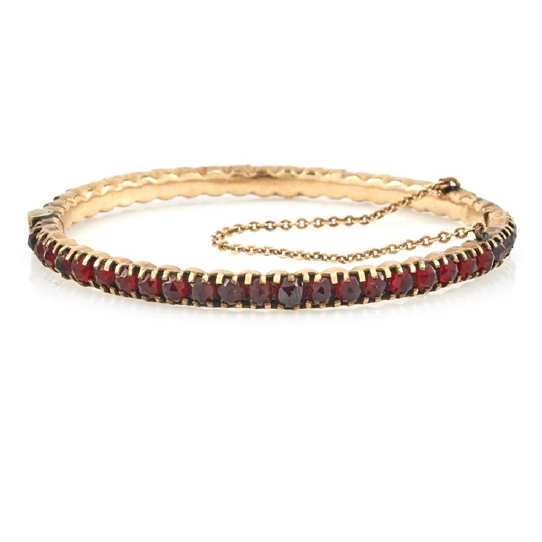 10k Rose gold Victorian Bohemian garnet bangle bracelet