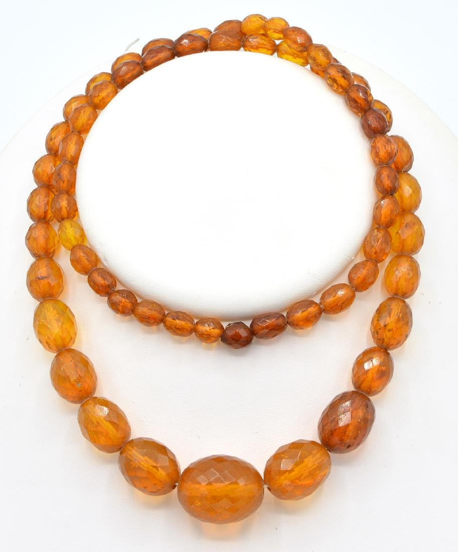 Amber faceted graduated bead necklace