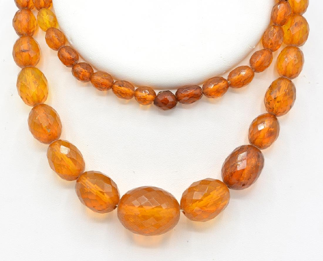 Amber faceted graduated bead necklace - 2