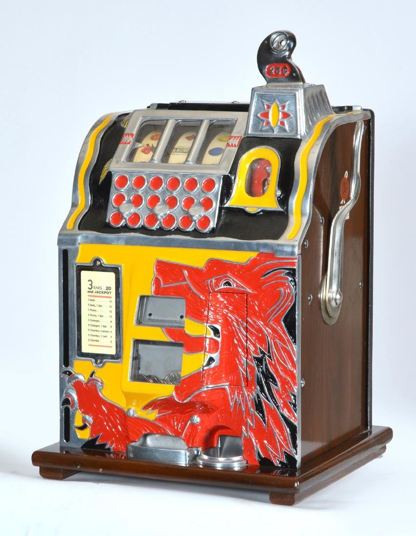 Antique 25 Cent Mills Lion Front Slot Machine.