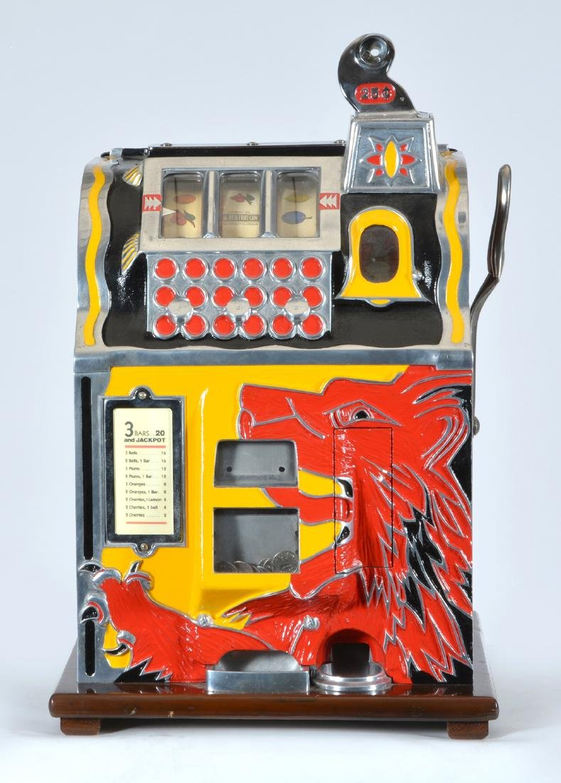 Antique 25 Cent Mills Lion Front Slot Machine. - 2