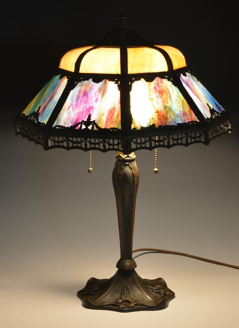 Stained glass table lamp with shaped overlay shade - 3