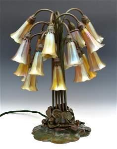 "Rare Tiffany Studios 18 Light Pond Lily Lamp, 21"" t"