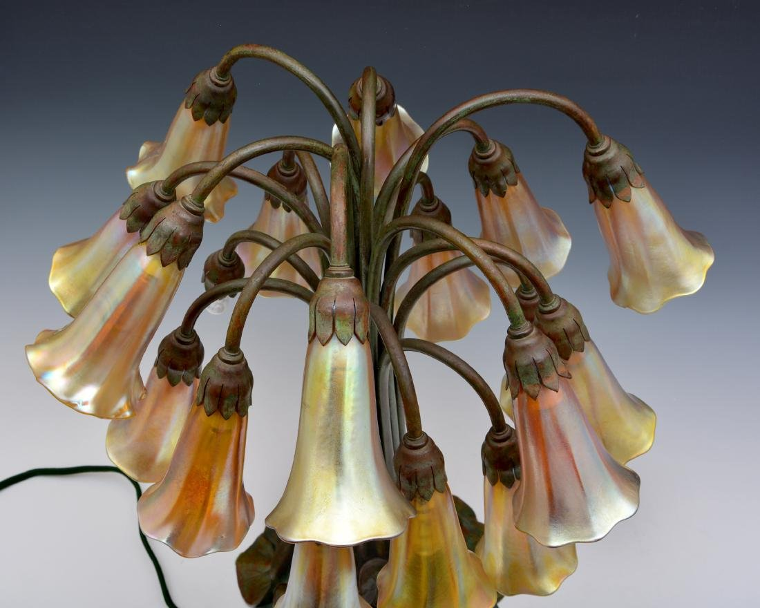 "Rare Tiffany Studios 18 Light Pond Lily Lamp, 21"" t - 5"