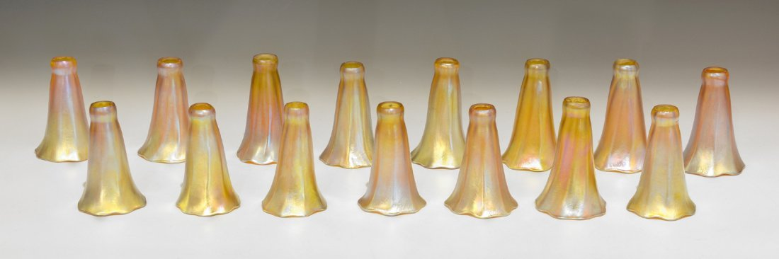"Rare Tiffany Studios 18 Light Pond Lily Lamp, 21"" t - 7"