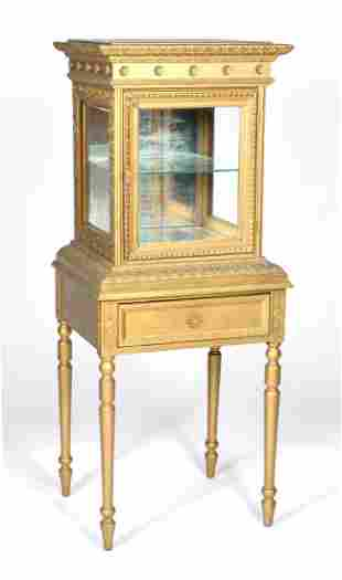 French cabinet display case on stand in gold paint