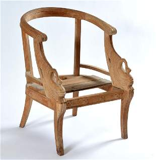 Mahogany tub chair with carved swan supports
