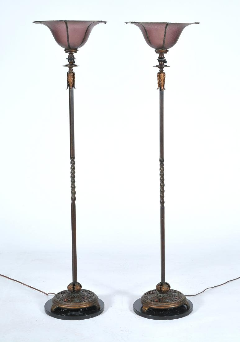 Pair of torchiere floor lamps with amethyst glass