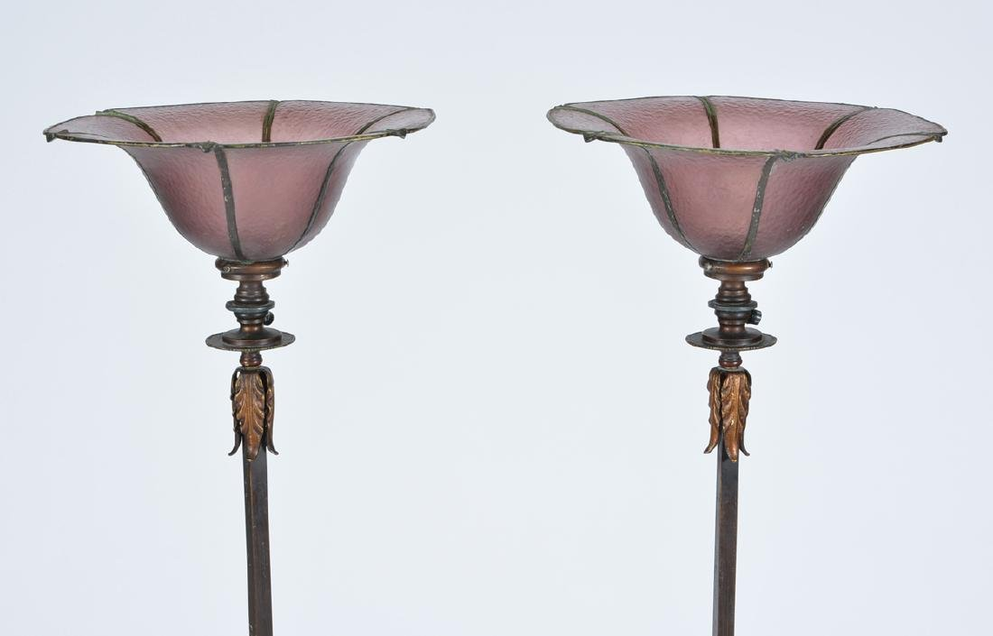Pair of torchiere floor lamps with amethyst glass - 2