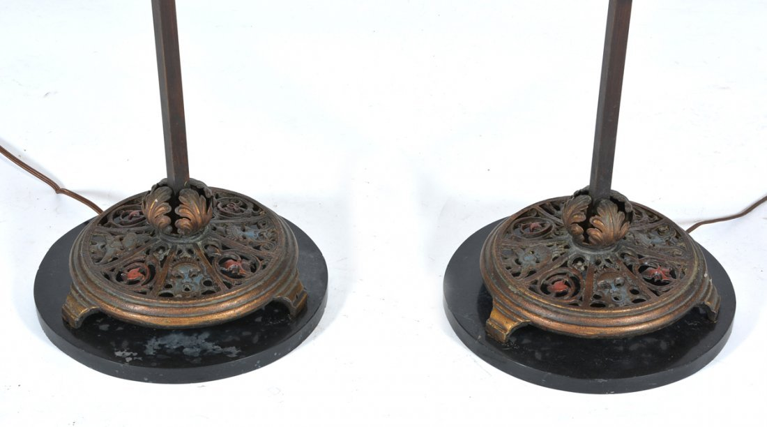 Pair of torchiere floor lamps with amethyst glass - 3