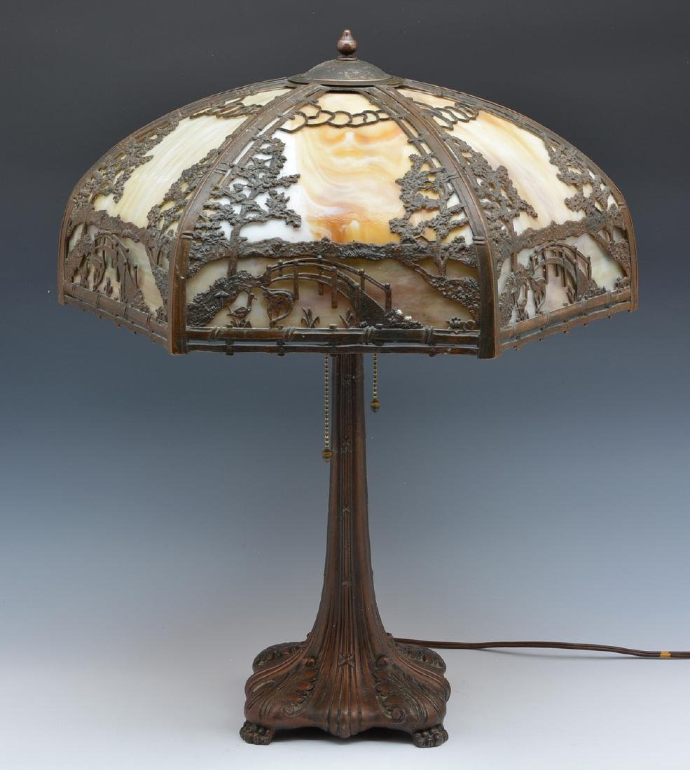 Stained glass and overlaid shade table lamp