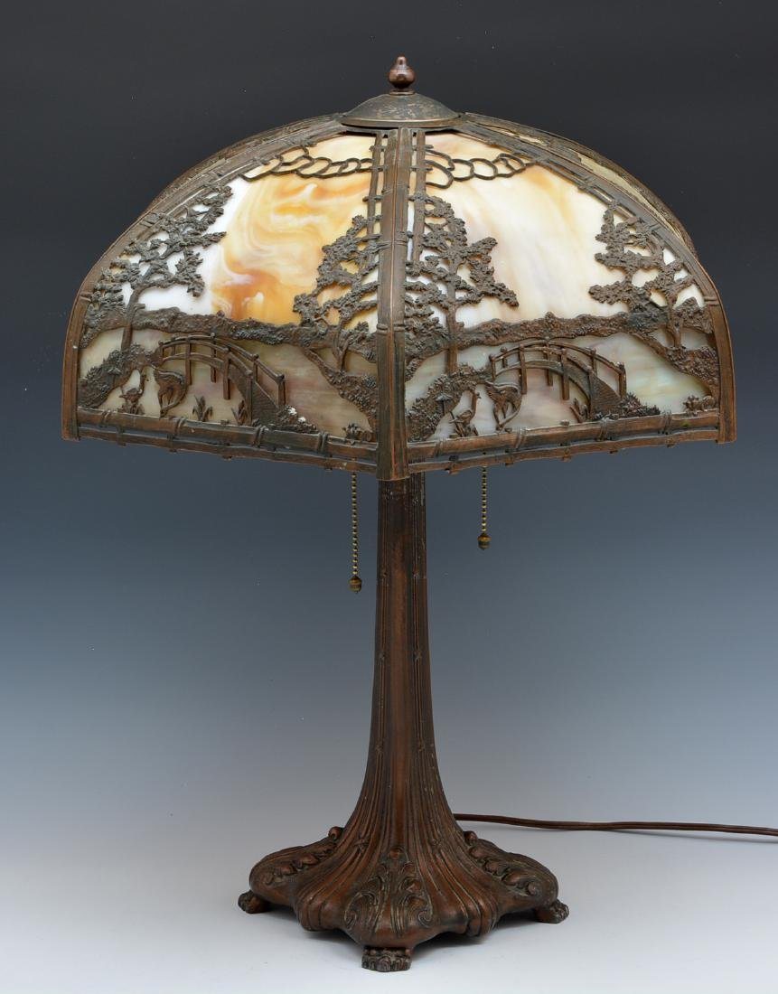 Stained glass and overlaid shade table lamp - 2