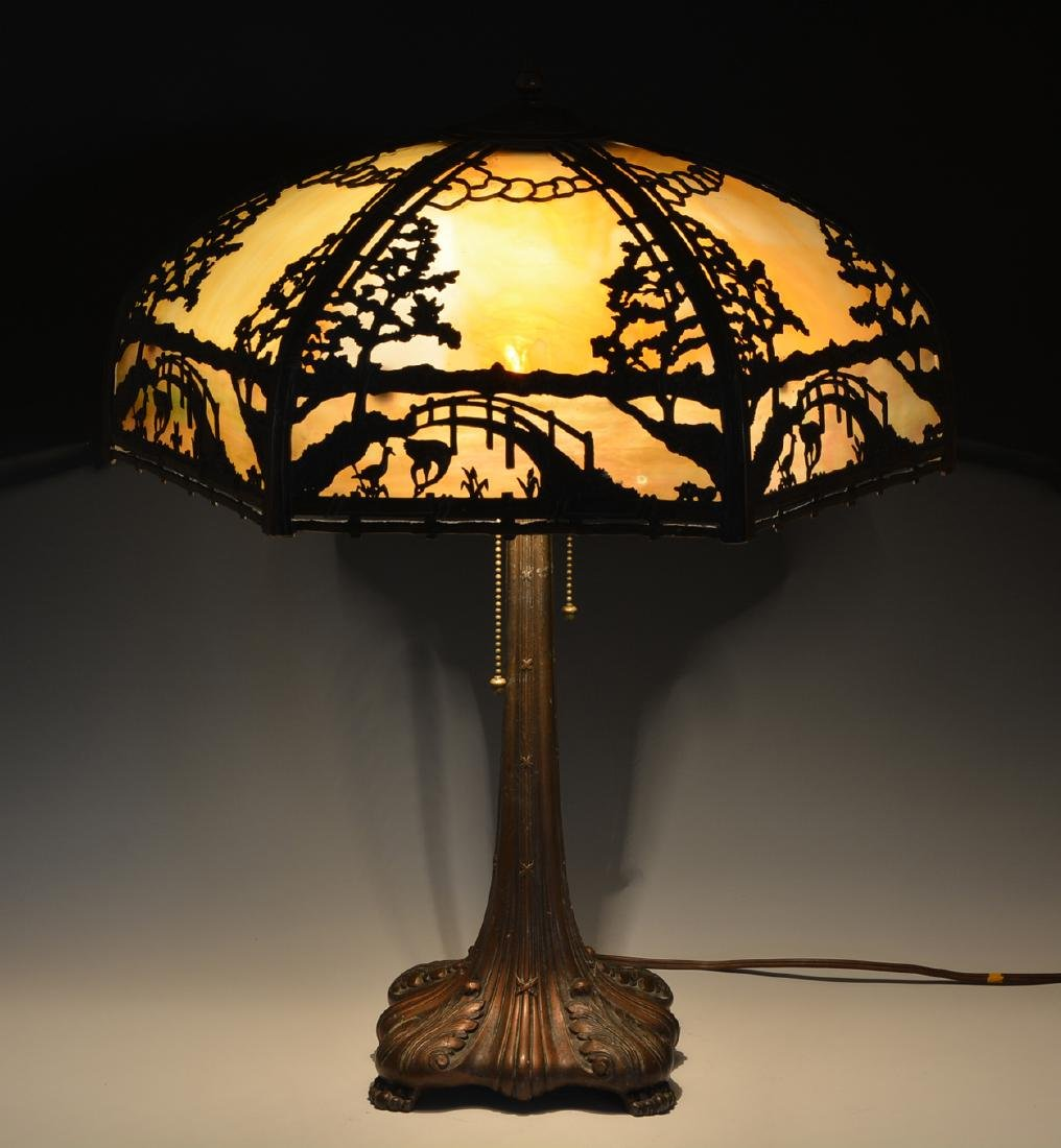 Stained glass and overlaid shade table lamp - 3