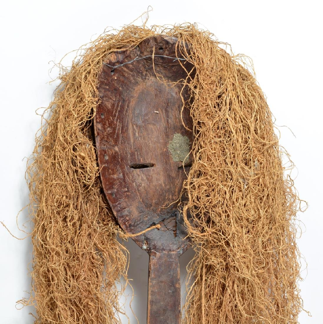 African carved wood mask with straw hair of female - 2
