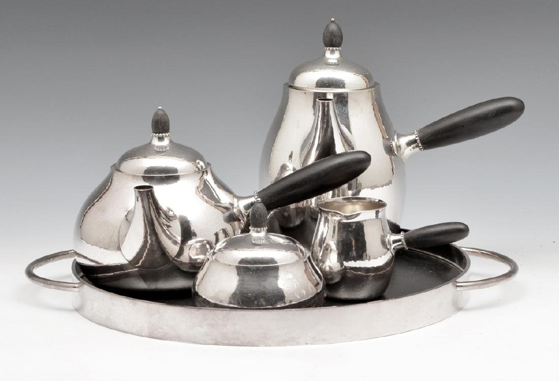 5pc Georg Jensen #80 sterling silver coffee tea set