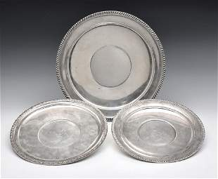 Grouping of three sterling silver trays