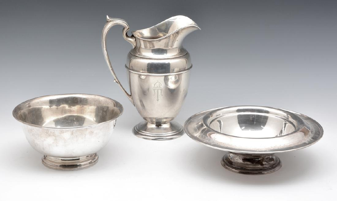 Pitcher and two bowls, American sterling silver