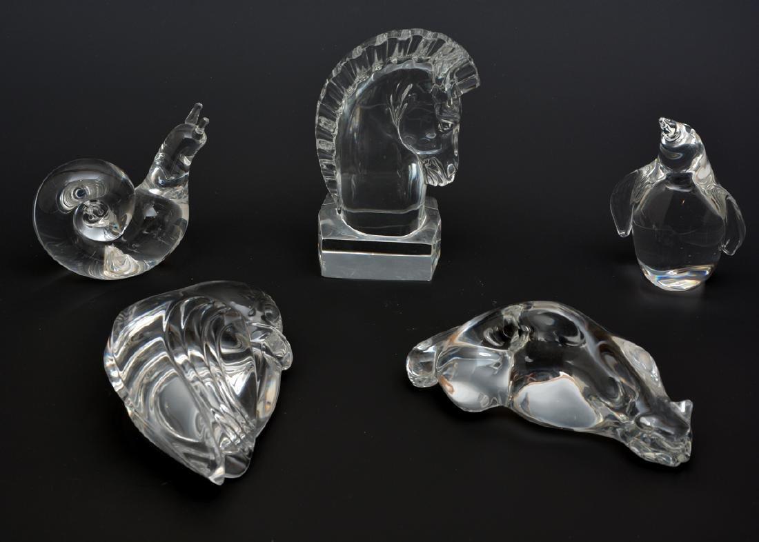 Five Steuben crystal animals